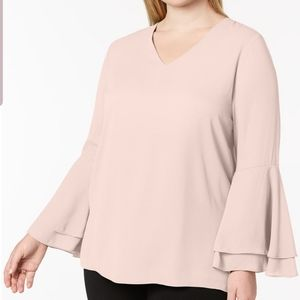 NEW ALFANI PLUS SIZE 18W NUDE BELL SLEEVES BLOUSE